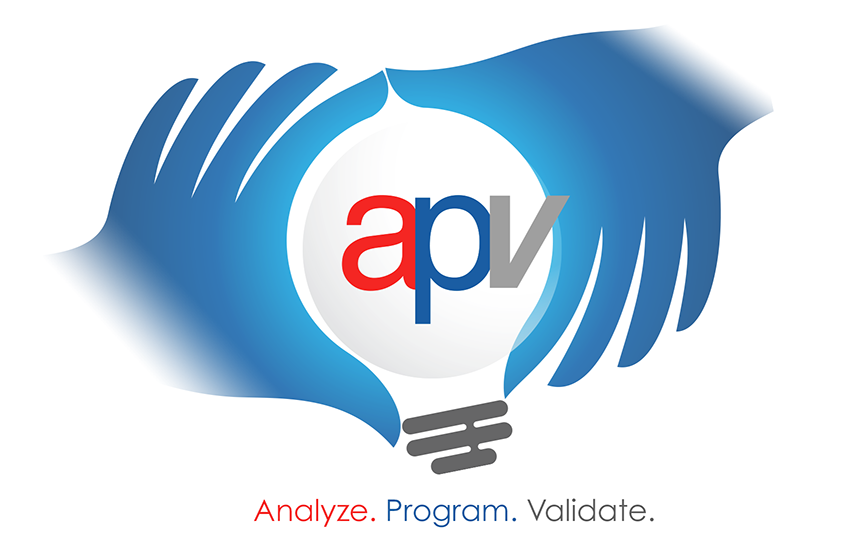 Apv logo that shows two hands grabbing a light bulb with the letters APV inside.