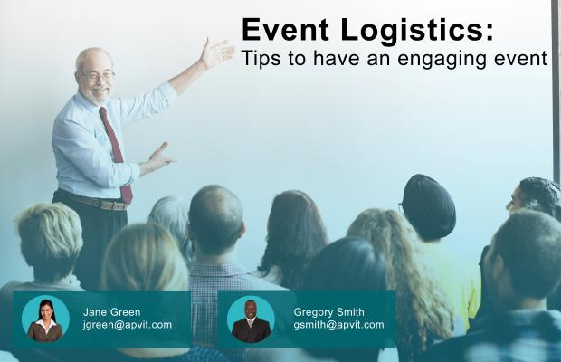 Professor pointing at whiteboard with words 'Event Logistics: Tips to have an engaging event' written on it